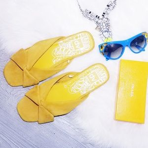 Yellow Mustard suede Knotted Slide Sandals 8